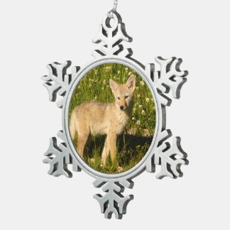 baby coyote snowflake pewter christmas ornament