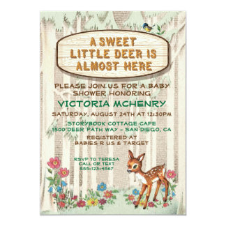 Baby Deer forest woodland baby shower Card