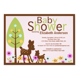Baby Deer Girl Baby Shower Invitation