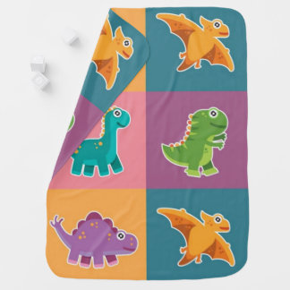 Baby Dino Friends Pattern Pramblanket