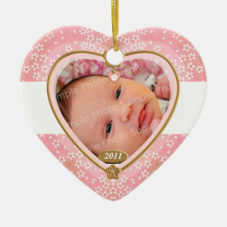 Baby Double Sided Photo Heart Frame Christmas Ornament