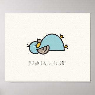 Baby Duck Dream Big Little One Nursery Wall Art Poster