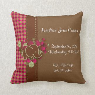 Baby Elephant - Dark Pink, Brown and Green Plaid Throw Cushion