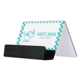 Baby Elephant With Purple Flowers Desk Business Card Holder