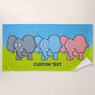 Baby elephants beach towel
