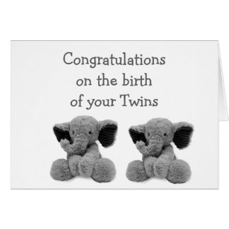 BABY ELEPHANTS SAY DOUBLE LOVE WITH NEW TWINS CARD