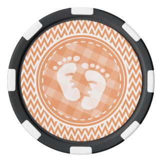 Baby Feet; Orange and White Chevron Poker Chips Set