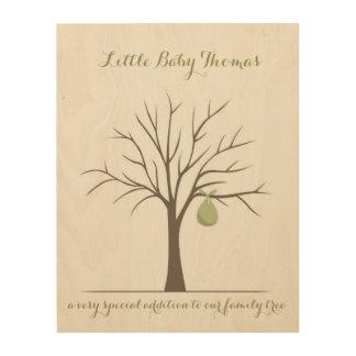 Baby Fingerprint Tree - Green Wood Print