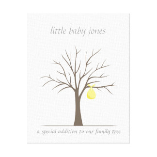 Baby Fingerprint Tree – Yellow Gallery Wrapped Canvas