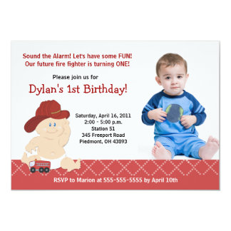 BABY FIRE FIGHTER *PHOTO* Birthday 5x7 13 Cm X 18 Cm Invitation Card