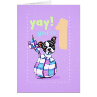 Baby First Birthday Age 1 Boston Puppy Card