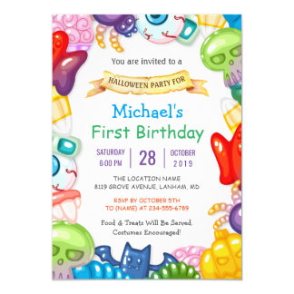 Baby First Birthday Halloween Party Monster Toys 13 Cm X 18 Cm Invitation Card