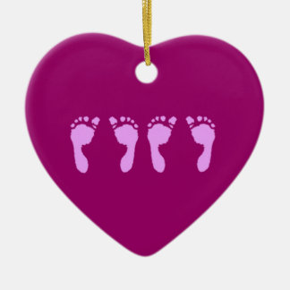 Baby Footprints (Girl Twins) Christmas Ornament