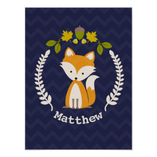 Baby Fox Wreath Personalised Nursery Artwork - Boy Poster