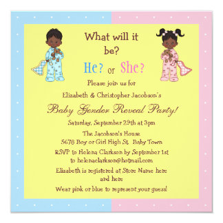 Baby Gender Reveal African American Babies 13 Cm X 13 Cm Square Invitation Card