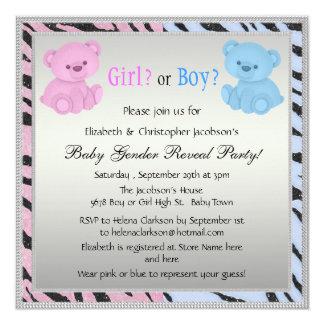 Baby Gender Reveal Animal Print & Bears 13 Cm X 13 Cm Square Invitation Card