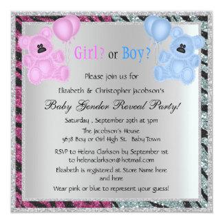 Baby Gender Reveal Animal Print Glitter & Bears Card