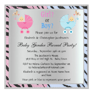 Baby Gender Reveal Animal Print Strollers 13 Cm X 13 Cm Square Invitation Card