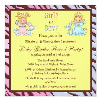 Baby Gender Reveal Cute Cartoon Babies 13 Cm X 13 Cm Square Invitation Card