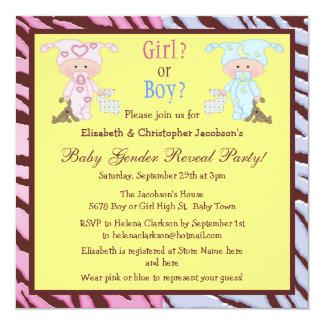 Baby Gender Reveal Cute Cartoon Babies & Bunnies 13 Cm X 13 Cm Square Invitation Card
