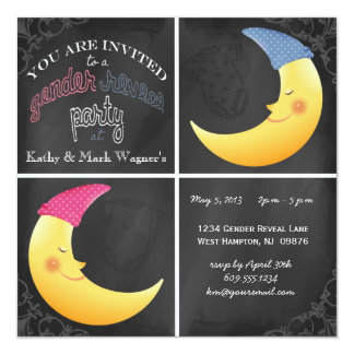 Baby Gender Reveal Invitation Man in the Moon