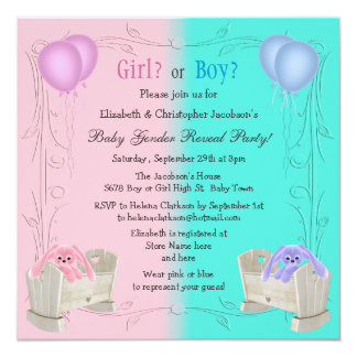 Baby Gender Reveal Pink & Blue Bunnies in Cribs Card