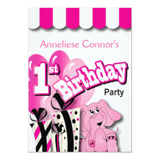 Baby Girl 1st Birthday Party | Pink Elephant 13 Cm X 18 Cm Invitation Card
