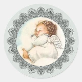 Baby Girl Angel sleeping on a Cloud Classic Round Sticker