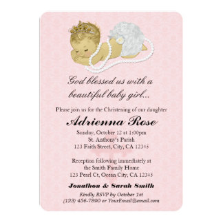 Baby Girl Baptism Christening Invitations PINK 147