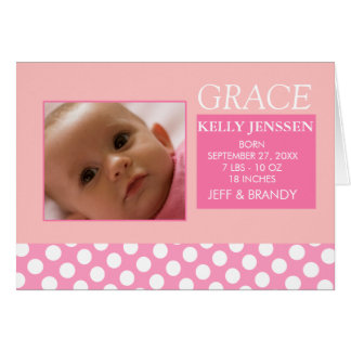 Baby Girl Birth Announcement Greeting Card
