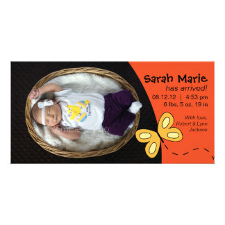 Baby Girl Birth Announcement in Orange Card