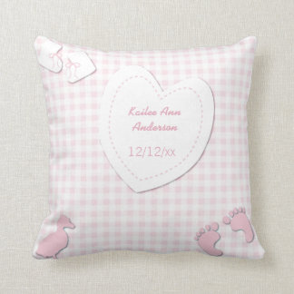 Baby Girl Birth Announcement Pink Plaid Throw Pillow