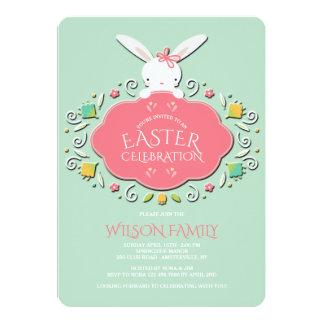 Baby Girl Bunny Easter Invitation