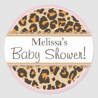 Baby Girl Cheetah Print Baby Shower Label Round Sticker