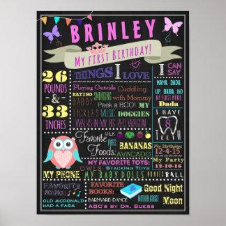 Baby Girl First Birthday Poster