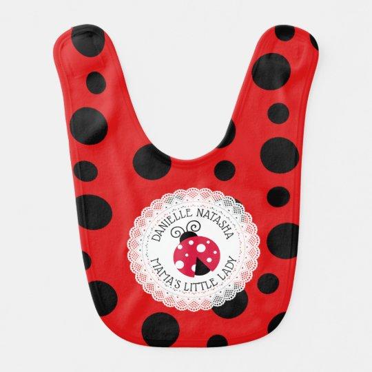 Baby Girl Ladybug Personalised Bib