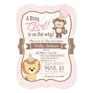 Baby Girl Monkey and Lion Pastel Baby Shower 5x7 Paper Invitation Card