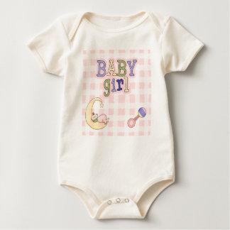 Baby Girl Moon, Rattle, Pink Checks Organic Baby Bodysuit