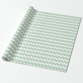 Baby Girl or Boy Green White Zigzag Chevron Stripe Wrapping Paper