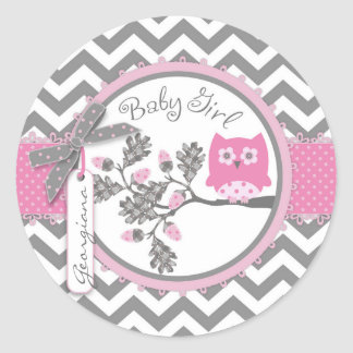 Baby Girl Owl Chevron Print Baby Shower Round Sticker