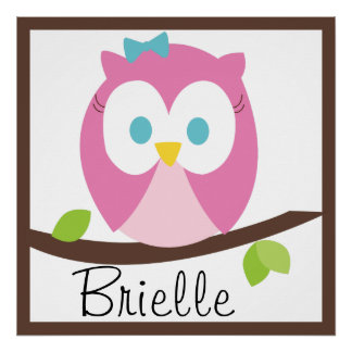 Baby Girl Owl on a Branch Poster