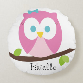 Baby Girl Owl on a Branch Round Cushion