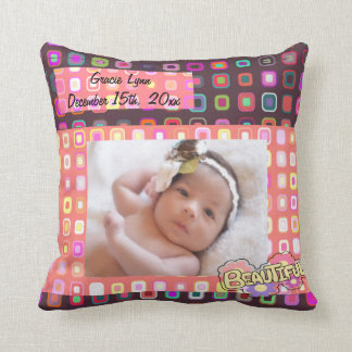 Baby Girl Photo Keepsake Throw Pillow