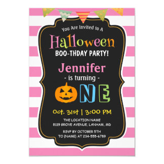 Baby Girl Pink Halloween First Birthday Party 13 Cm X 18 Cm Invitation Card