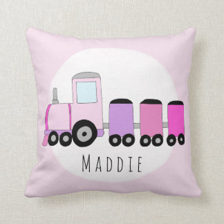 Baby Girl Pink Locomotive Train Name Nursery Cushion