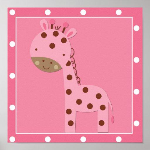 Baby Girl Pink Safari Giraffe Poster