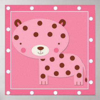 Baby Girl Pink Safari Leopard Poster