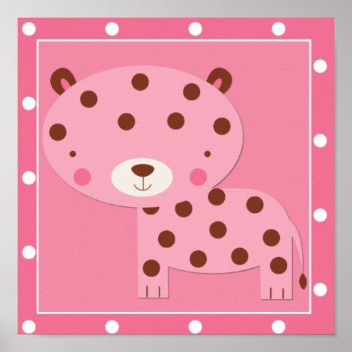 Baby Girl Pink Safari Leopard Posters