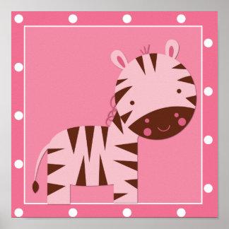Baby Girl Pink Safari Zebra Poster
