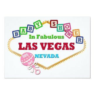 Baby Girl Shower in Las Vegas Card Pink Rattle 13 Cm X 18 Cm Invitation Card